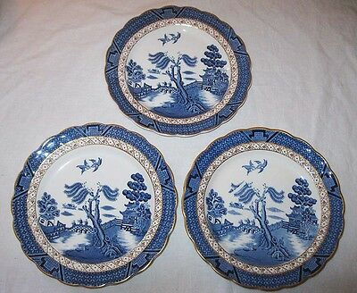 Booths Real Old Willow Blue 3 Salad Plates A8025 England Gold Trim Oriental
