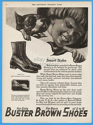 1922 Buster Brown Girls Boots Lotus Lace Up St Louis MO Vintage Fashion Style Ad