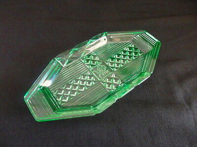 20cm Art Deco Emerald Green Uranium Glass Tray