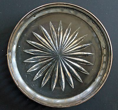 Vintage Glass Dish Ring Tray with Sterling Silver Edge