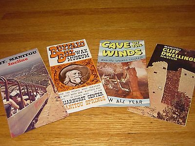 1960s Brochures Manitou Cliff Dwelling Cave Winds Buffalo Bill Wax Map Travel