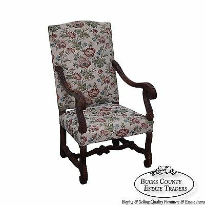Antique French Louis XIII Style Carved Walnut Arm Chair