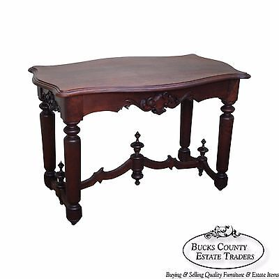 Antique 19th Century Solid Walnut Victorian Library Table