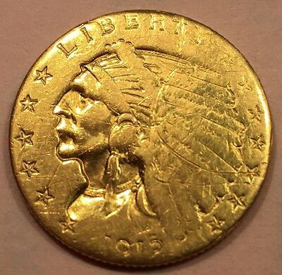 1912 $2.50 Indian Gold Quarter Eagle.