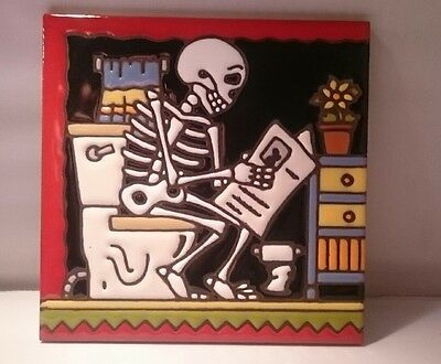 Day of the Dead Decorative Clay Tile - SKELETON ON A TOILET by Earthtones 6436A