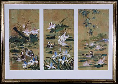 Chinese Gouache Original 3-Panel Painting(S) On Cork Paper / Framed Together