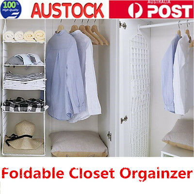 Wardrobe Storage DIY Hanger Hanging Closet Organizer Clothes Shelf Rack OZ