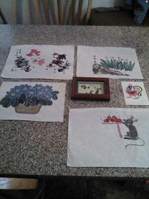 4 Vintage Chinese Water Color Paintings on Rice Paper w/1 Chinese Bean Painting