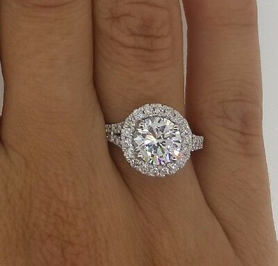 2.86 Ct Round Cut Si1 Diamond Solitaire Engagement Ring 14K White Gold