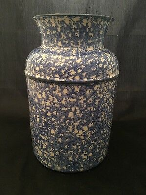 Vintage Stangl Town And Country Hand Painted Blue & White Canister Milk Pail