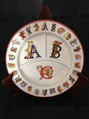 Tiffany & Co. Alphabet Bears Porcelain Divided Child Plate 1994 Japan