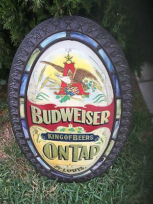 Vintage  1970's Budweiser on Tap King of Beers Oval Plastic Sign 31 1/2 x20 1/2