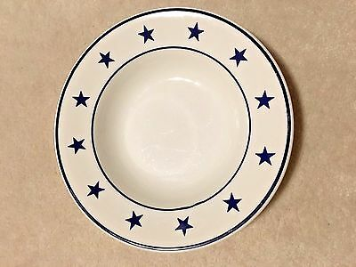 STERLING CHINA WELLSVILLE OHIO USA S4 SF BLUE STAR x12 BOWL MILITARY NAVY MESS