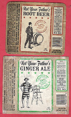 SET of 2 BOTTLE LABELS: GINGER ALE & ROOT BEER. FREE SHIPPING