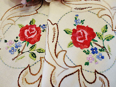 Beautiful Vintage Hand Embroidered Runner Rose Design 84 x 28cm