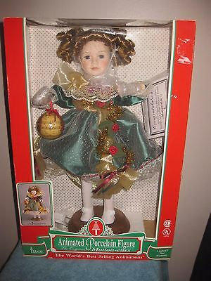 """Vintage TELCO PORCELAIN ANIMATED Victorian CHRISTMAS GIRL """"VICTORIA"""" MOTIONETTE"""
