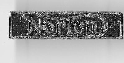 Vintage Sculpted Norton Name Bar P old  metal badge