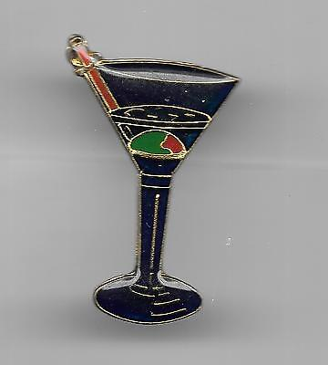 Vintage Martini Glass complete with Olive and Stirrer old enamel pin