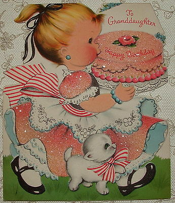 Heavily Glittered- Little Girl in PINK, Cake, Kitten -50's Vintage Greeting Card