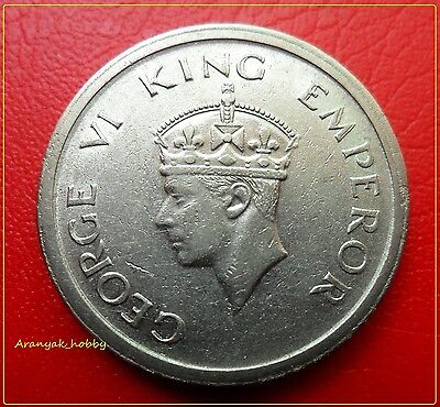 Extremely Rare One Rupee George Vi 1947 Double Die Error Coin.