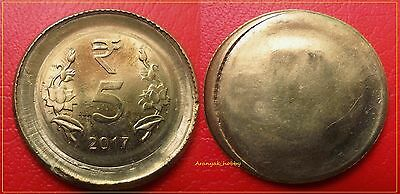 Rare ! 5 Rs Nickel Brass 4-In-1(Double Die - Uniface-Cap-Large Flan ) Error Coin