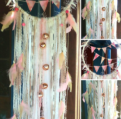 Party Lover Baby Girl Dream Catcher Pink Rose Gold White Champagne Bunting Gift