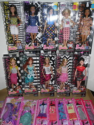 Barbie FASHIONISTAS Mega Set of 10 Dolls with 9 Outfits New