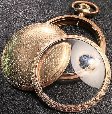Fortune Gold filled American Pocket Watch Case Size 16 Engine-turned Rare