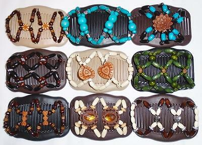 "LRG Double Hair Combs, 4x3.5"", Angel Wings Clips, African Butterfly, Quality S47"