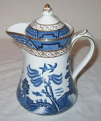 Booths Real Old Willow Blue Small Covered Pitcher Syrup A8025 England Gold
