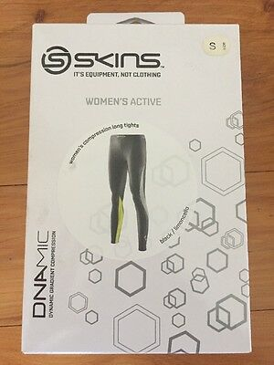 Skins DNAmic WomenS Long Tights with Compression size Small  Black/Limoncello