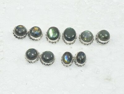 Wholesale 5 Pair 925 Silver Plated Natural Blue  Labradorite Stud Earring Lot