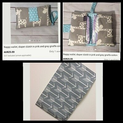 nappy wallet and travel change mat grey blue arrows new