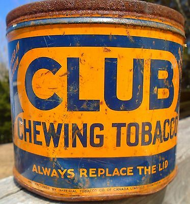 VINTAGE 1940's CLUB CHEWING TOBACCO (2 LBS.) TIN CAN - IMPERIAL TOBACCO CO. QUEB