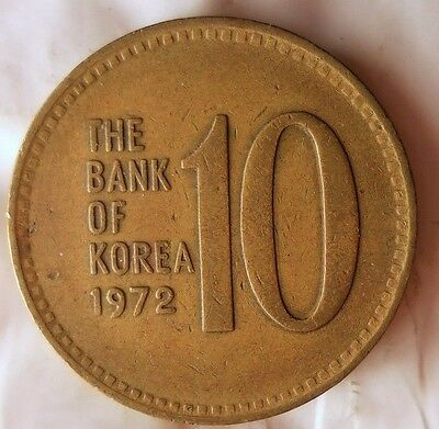 1972 SOUTH KOREA 10 WON - Excellent Coin - Korea Bin #B/2