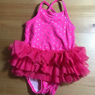 Circo Baby Size 12 Months Pink Polka Dot Ruffel Bottom One Piece Swim Suit