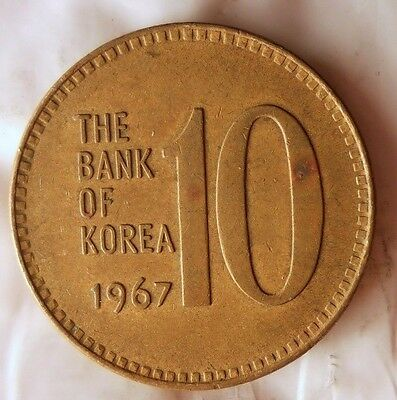 1967 SOUTH KOREA 10 WON - Uncommon Vintage Coin - KOREA BIN #B