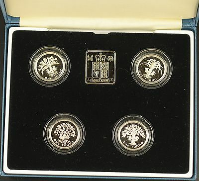 1989 - 1992 4 x £1 SILVER PROOF COLLECTION  - boxed/coa