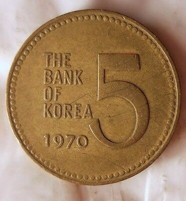 1960 SOUTH KOREA 5 WON - Uncommon Vintage Coin - KOREA BIN #B