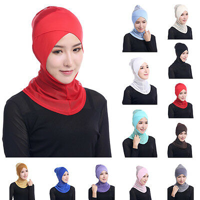Muslim Women Bonnet Ninja Hijab Underscarf Islamic Head Cover Scarf Headwear Red