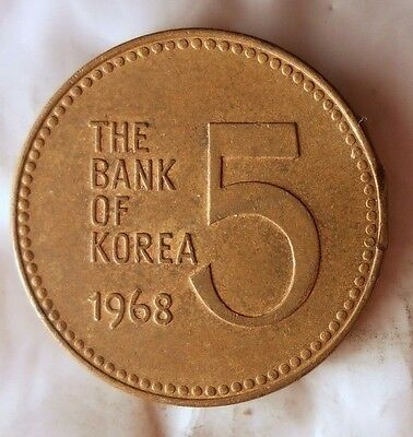1968 SOUTH KOREA 5 WON - Uncommon Vintage Coin - KOREA BIN #B