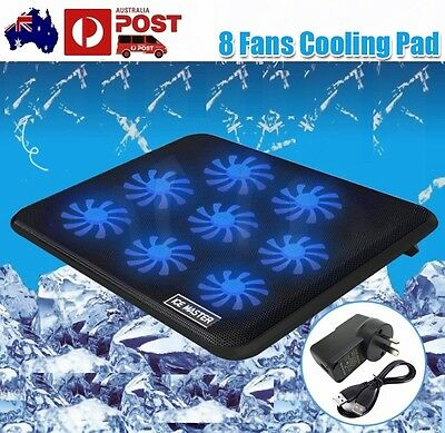 8-Fans LED USB Port Cooling Pad Cooler For Acer IBM Lenovo ASUS Macbook Pro 17""