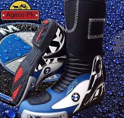 Multicolour BMW Motorbike Shoes Motorcycle Racing Leather Biker Boots CustomMade