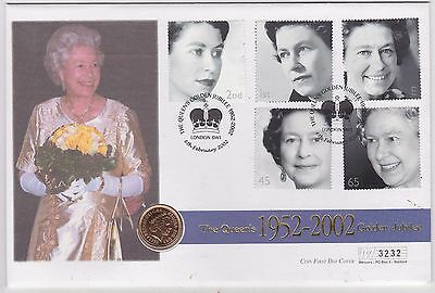 2002 Gold Half Sovereign Coin & Stamp Cover Golden Jubilee