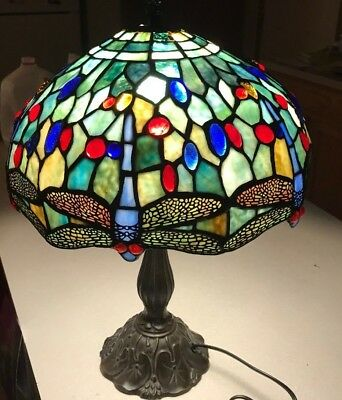 Contemporary Tiffany Art Nouveau Style Leaded Glass DRAGONFLY LAMP *Shade Repair