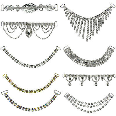 Bling Crystal Rhinestone Chain Ribbon Trim Bridal Dress Costume Applique U Pick