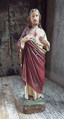 """12.5"""" Antique Plaster Statue Sacred Heart of Jesus Christ Our Lord Figurine"""
