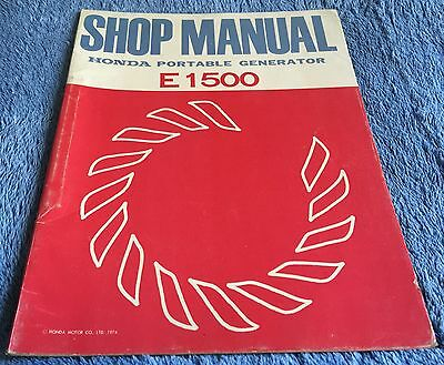 HONDA E1500 PORTABLE GENERATOR SHOP MANUAL - Genuine Factory Manual - 1974  Book