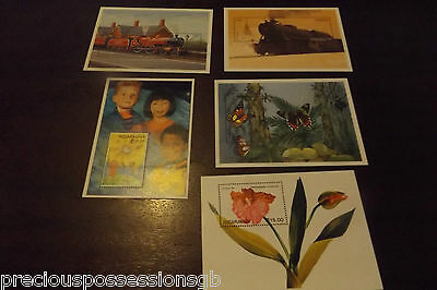Nicaragua Mnh Miniature Sheets Mint Group Of 5 Sheets Flower, Butterfly,trains