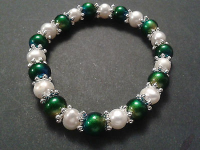 Freshwater Pearl Stretch Bracelets with Metallic Beads and Snowflake spacers